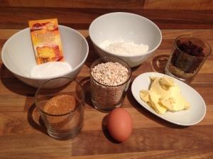 Zutaten Haferflocken-Cookies mit Rosinen
