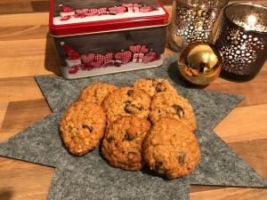 Haferflocken-Cranberry-Cookies mit Mandeln und Zimt